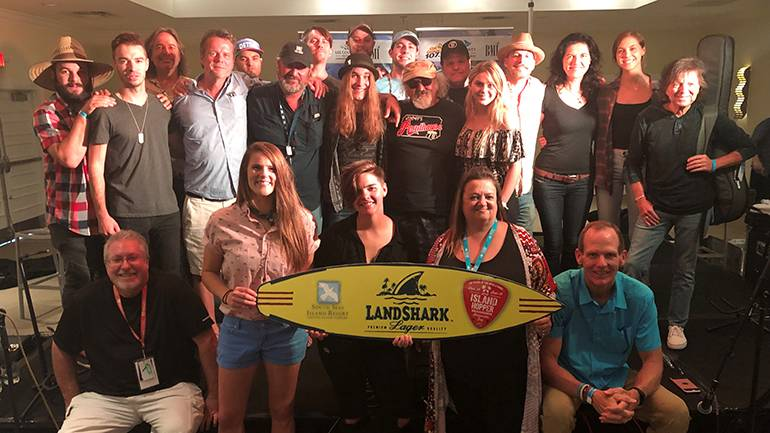 BMI songwriters gather for a team photo at the annual Island Hopper Songwriter Fest VIP reception, hosted by South Seas Plantation on Captiva Island.