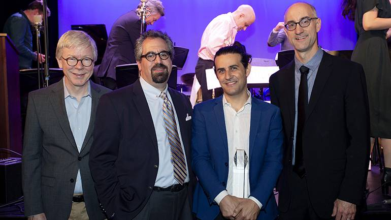 Pictured (L-R) at the 31st Annual Jazz Composers Workshop Summer Showcase concert are: BMI's Senior Director of Jazz and Musical Theater, Pat Cook; Jazz Composers Workshop Musical Director, Andy Farber; 2019 Charlie Parker Prize winner, Dan Pugach, and the Workshop's Associate Musical Director, Alan Ferber.