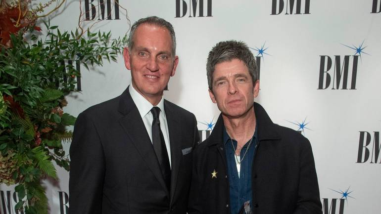 BMI President & CEO Mike O'Neill and BMI President's Award Winner Noel Gallagher at the 2019 BMI London Awards at the Savoy Hotel, October 21, 2019