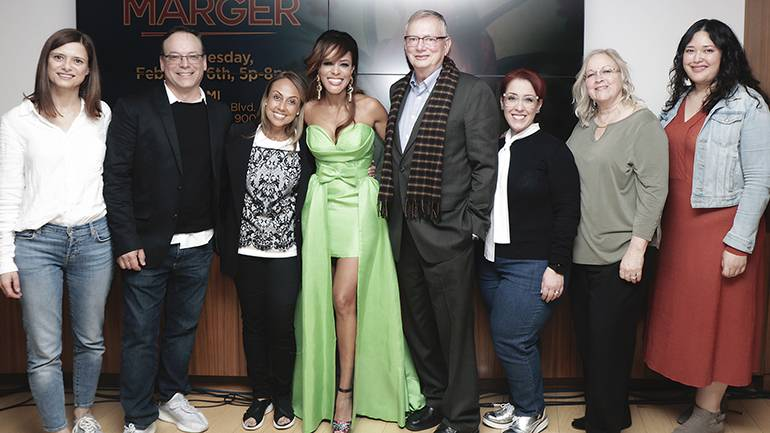 (L-R) Marta Artaso (Sony Music), Julio Bague (Peer Music), BMI's Delia Orjuela and Marger pose alongside Ralph S. Peer (Peer Music), Yvonne Drazan (Peer Music) Kathy Spanberger and BMI's Krystina DeLuna during the album release showcase for Marger at the BMI Los Angeles office on Wednesday, February 6.