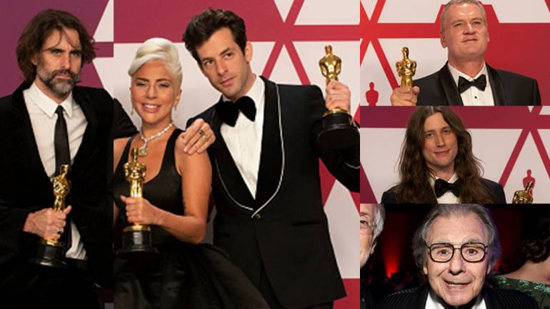 Pictured on the left are: Andrew Wyatt, Lady Gaga and Mark Ronson. Pictured on the top right is John Ottman, followed by Ludwig Göransson and Lalo Schifrin.