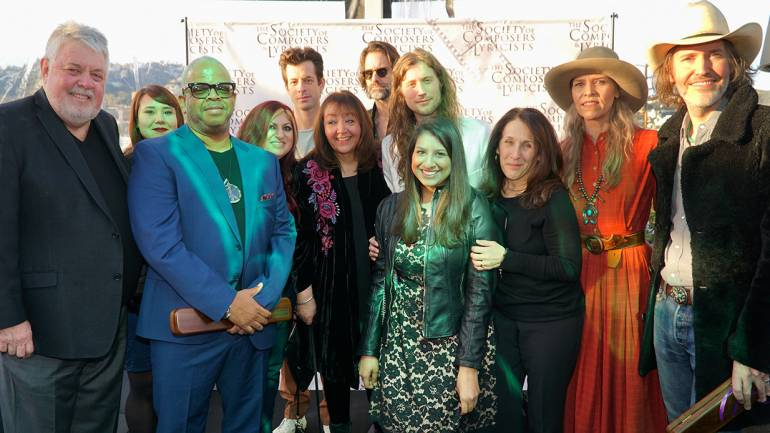 Pictured (L-R) are: SCL President Ashley Irwin, BMI's Evelyn Rascon, Oscar nominee Terence Blanchard, BMI's Anne Cecere, this year's Oscar-winning songwriters Mark Ronson and Andrew Wyatt, BMI's Doreen Ringer-Ross, 2019 Oscar-winning composer Ludwig Göransson, BMI's Reema Iqbal and Barbie Quinn, and Oscar nominees Gillian Welch and David Rawlings.