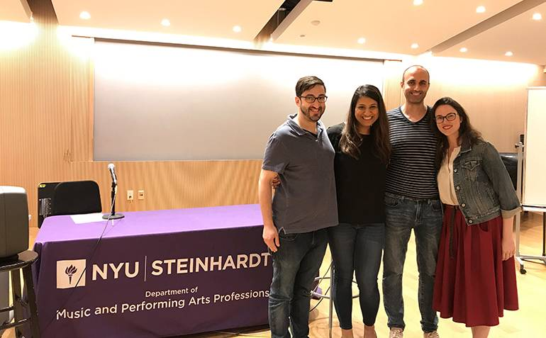 Pictured (L-R) during the BMI/NYU Scoring for Advertising Workshop are: composer Eric Hachikian, BMI's Reema Iqbal and NYU faculty members Sergi Casanelles and Lillie McDonough.