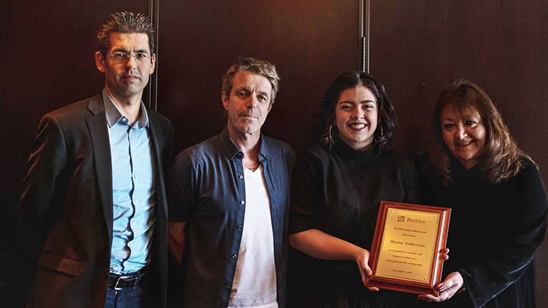 """Pictured (L-R) are Berklee's chair of film scoring Sean McMahon, BMI composer Harry Gregson-Williams, scholarship recipient Dayna Ambrosio, and BMI's Doreen Ringer-Ross during """"BMI Day"""" at Berklee College of Music in Boston."""