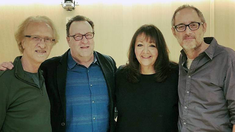 (L-R) Associate Professor of Music at NYU Steinhardt Mark Suozzo; Director of the Film Scoring program, Ron Sadoff; BMI's Doreen Ringer-Ross; and composer Peter Nashel pause for a photo during the NYU/BMI TV Scoring Workshop in New York City.