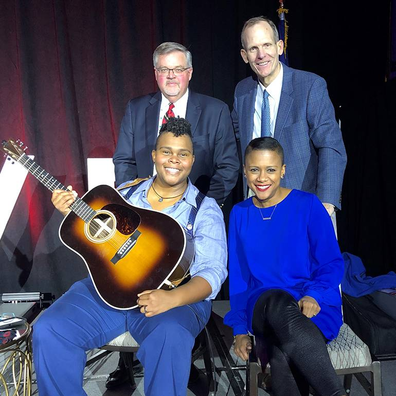 Pictured (L-R) before the Virginia Tourism Summit session on storytelling are: (sitting) BMI songwriter Crys Matthews and Summit MC Kelli Lemon. (Standing): Virginia Restaurant, Lodging & Tourism Association President & CEO Eric Terry and BMI's Dan Spears.
