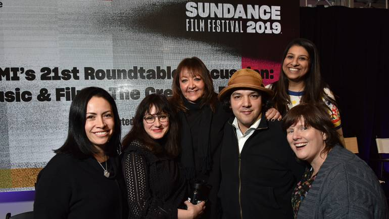 BMI's Alex Flores poses alongside composer Mandy Hoffman, BMI's Doreen Ringer-Ross, Enis Rotthoff, BMI's Reema Iqbal and composer Heather McIntosh at BMI's 21st annual Composer/Director Roundtable during the 2019 Sundance Film Festival.