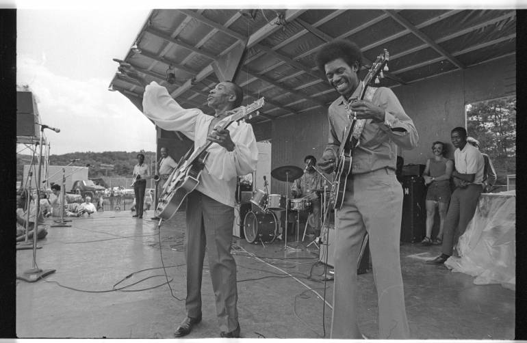 T-Bone Walker and Luther Allison in performance at the 1969 Ann Arbor Blues Festival