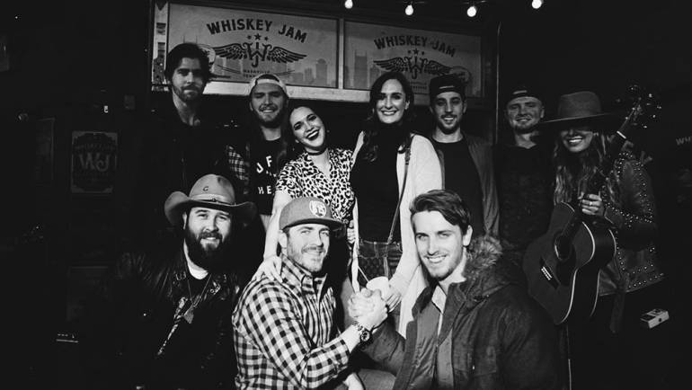 (Top Row L-R): BMI songwriters Gable Bradley, Nick Wayne and Hannah Ellis, BMI's MaryAnn Keen and BMI songwriters 641 and Catie Offerman. (Bottom Row L-R): BMI songwriter Brinley Addington, Whiskey Jam's Ward Guenther and BMI songwriter Troy Cartwright.