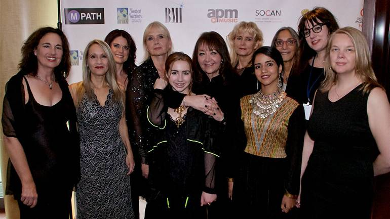 Pictured at the event are Starr Parodi, Sharon Farber, Nathalie Bonin, Lolita Ritmanis, Isolde Fair, BMI's Doreen Ringer-Ross, Amy Andersson, Sonita Alizadeh, Miriam Cutler, Mandy Hoffman and Catherine Joy.