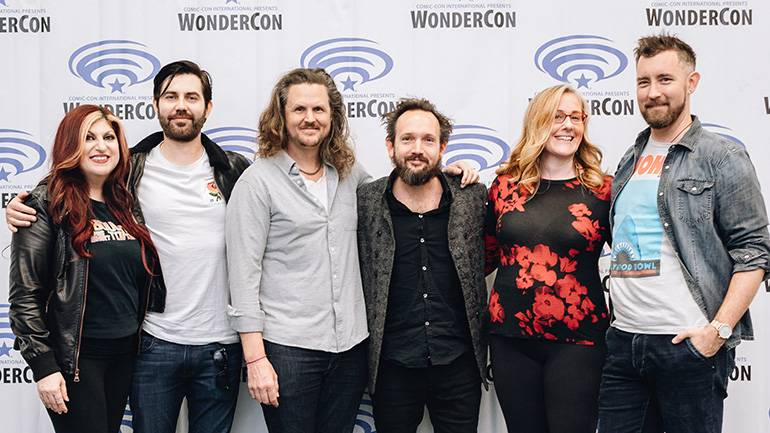 Pictured (L-R) BMI's Anne Cecere alongside Taylor Newton Stewart and Andy Grush  (The Newton Brothers), and BMI affiliates Will Bates and Ronit Kirchman, next to White Bear PR's Chandler Poling at WonderCon on March 29, 2019 in Anaheim, CA.
