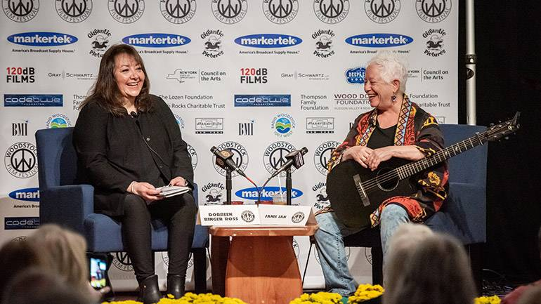 BMI's Doreen Ringer-Ross and BMI singer-songwriter Janis Ian enjoy the conversation during their Q&A at the 2019 Woodstock Film Festival.