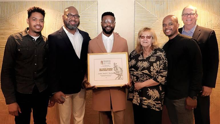 "Pictured: BMI's Cee Barrett, Cheaa Mayfield, Zuberi ""@uD!o"" Mackson, Songwriters Hall of Fame President & CEO Linda Moran, BMI's Omar Grant and BMI's Charlie Feldman"