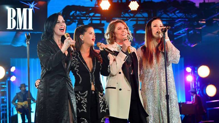 (L-R) Amanda Shires, Maren Morris, Brandi Carlile and Natalie Hemby of The Highwomen perform onstage at 67th Annual Country Awards Dinner at BMI on November 12, 2019 in Nashville, Tennessee. (Photo by Erika Goldring /Getty Images)
