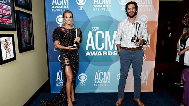 Pictured are ACM Entertainers of the Year Carrie Underwood and Thomas Rhett