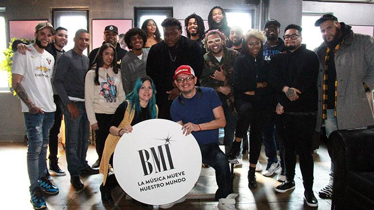 Pictured L-R are BMI's Mary Russe and VIP Records' CEO Fabrizio Moreira alongside coveted urban songwriters and producers at the first annual songwriting camp at Quad Studios in New York.