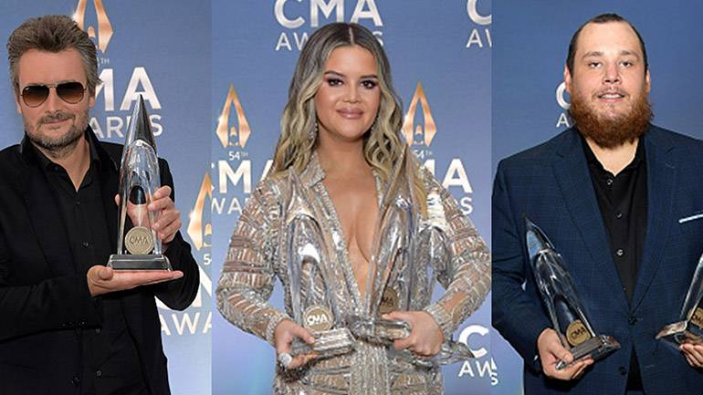 Pictured are Eric Church, Maren Morris and Luke Combs