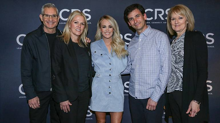 Pictured (L-R) before BMI songwriter Carrie Underwood is interviewed on stage at the Country Radio Seminar in Nashville are: CRS Executive Director RJ Curtis, BMI's Leslie Roberts, multi-award winning BMI songwriter and artist Carrie Underwood, BMI's David Levin and Summit Media Senior Vice President of Programming Beverlee Brannigan.