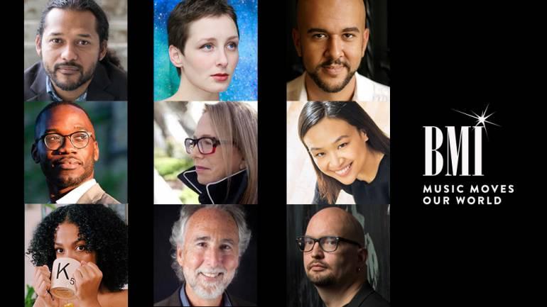 Clockwise from top left are BMI composers: Jose G. Martinez, Tanner Porter, Marcos Balter, Tonia Co, Ethan Iverson, Don Crockett, Karena Ingram, and Joel Thompson. Center: Laura Karpman.
