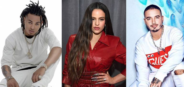 (L-R) Billboard Latin Music Award nominees Ozuna, Rosalía & J Balvin