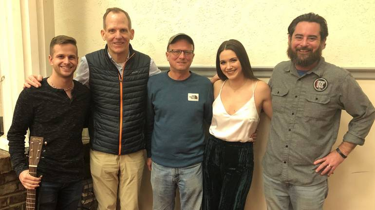 Pictured (L-R) after BMI songwriter Hannah Ellis' performance at the 2020 Kentucky Guild of Brewers Conference are: guitarist Kevin Monahan, BMI's Dan Spears, Gordon Biersch-Louisville General Manager and KGB Board Chair Jason Smith, BMI songwriter Hannah Ellis,  and KGB Executive Director Derek Selznick.