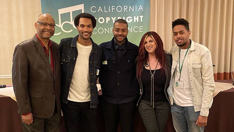 """Pictured (L-R) at the California Copyright Conference are: attorney and CCC vice president, Garrett Johnson; KCRW DJ and """"When They See Us"""" music supervisor, Aaron Byrd; Emmy-winning composer Kris Bowers; past president and current board member of the CCC, BMI's Anne Cecere; and current CCC board member, BMI's Cee Barrett."""