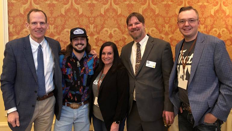 Pictured (L-R) before BMI songwriter Ian Munsick performed at the Wyoming Governor's Hospitality & Tourism Conference in Cheyenne are: BMI's Dan Spears, BMI songwriter Ian Munsick, Wyoming Restaurant & Lodging Association Meeting & Events Coordinator Christi Anderson, WRLA Executive Director Chris Brown and WRLA Education Director Tate Bauman.