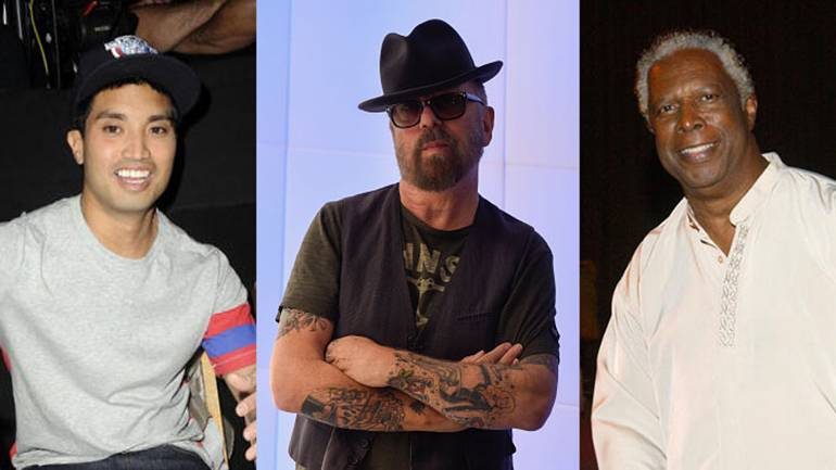 "L-R SHOF inductees Chad Hugo, Dave Stewart and William ""Mickey"" Stevenson"
