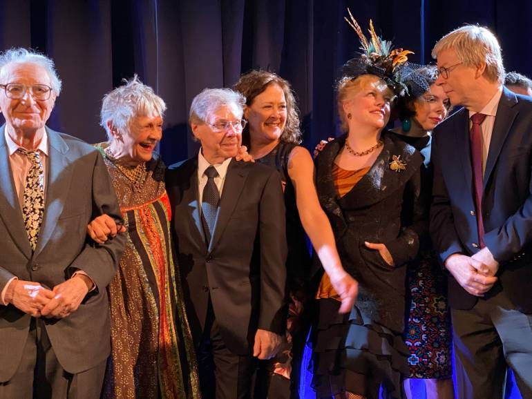 Pictured at the Encompass Gala are: Sheldon Harnick, Estelle Parsons, Maury Yeston, Karin Ziemba, KT Sullivan, Jill Abramovitz and BMI's Patrick Cook.