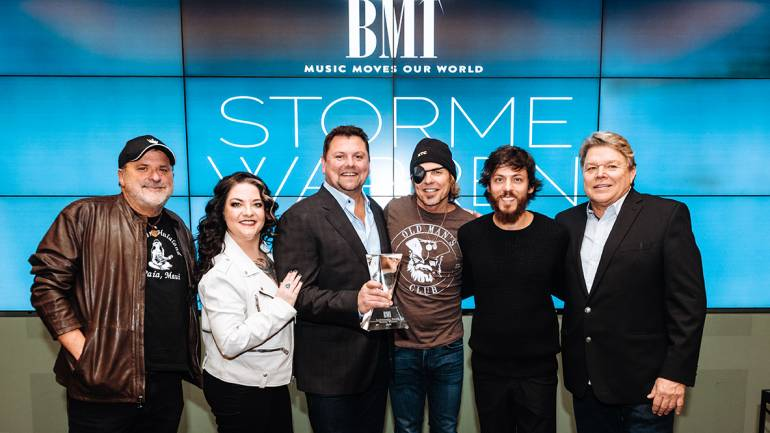 Pictured are: BMI Icon Bob DiPiero, Ashley McBryde, Storme Warren, BMI songwriter Jeffrey Steel, Chris Janson, and BMI's David Preston