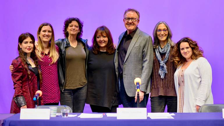 "Gathered for a photo are the participants of ""Women in Music: Making Change Happen"": Lili Haydn, Diana LaPointe, Angie Rubin, BMI's Doreen Ringer-Ross, Peter Gordon, Miriam Cutler, and Sarah Kovacs."