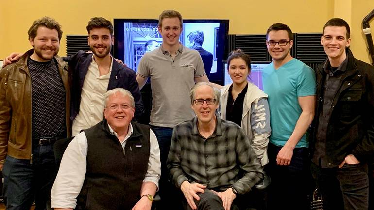 Eastman School of music students meet with Beal Institute founder and Eastman alumnus, BMI composer Jeff Beal at his studio.