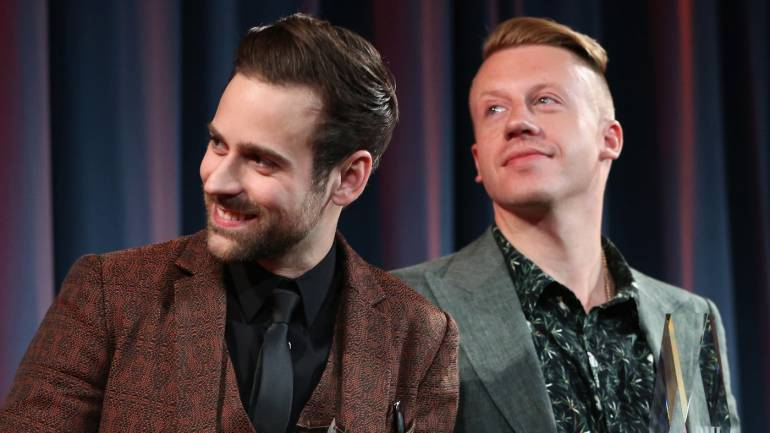 BMI Songwriter of the Year Award winners Ryan Lewis (L) and Macklemore attend the 2014 BMI Pop Awards at the Beverly Wilshire Four Seasons Hotel on May 13, 2014 in Beverly Hills, California.