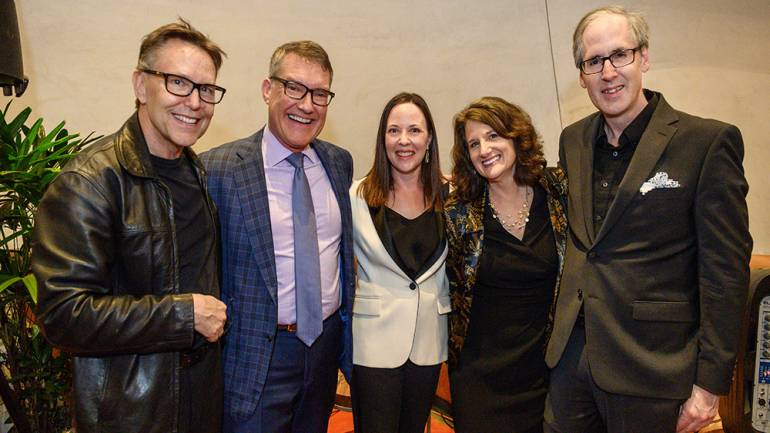 Pictured at the event are conductor Grant Gershon, chief production officer Kevin Koelbl, President & CEO of LAMC Jean Davidson, librettist Joan Beal and composer Jeff Beal.