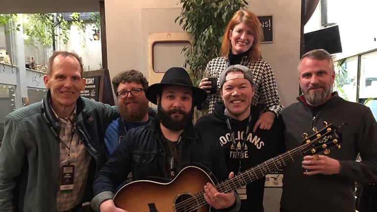 Pictured (L-R) before BMI songwriter Sam James' performance at Toxic Brew in Dayton are: BMI's Dan Spears, OCBA Deputy Director Justin Hemminger, BMI songwriter Sam James, OCBA Executive Director Mary MacDonald, Toxic Brew Taproom manager/owner, Travis Gilcher and Toxic Brew owner Shane Juhl.