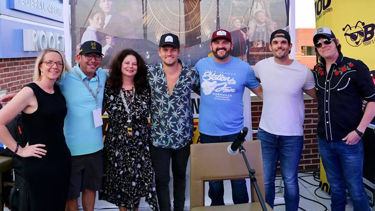 Pictured (L-R) are River House Artist Manager Alicia Jones, Federated Media's Chief Strategy Officer & Director of Programming James Derby, BMI's Jessica Frost, BMI singer-songwriters Levi Hummon, Matt Chase and Chris Rogers of the duo Southerland, and Stephen Wilson, Jr.