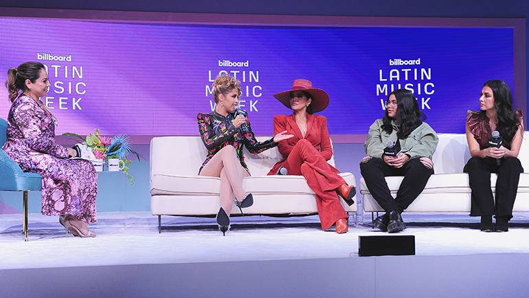 """(L-R) BMI's Teresa Romo, Adriana Ríos, Ana Bárbara, Ivonne Galaz and Lupita Infante during BMI's """"How I Wrote That Song"""" panel during Billboard Latin Music Week at the Faena Forum in Miami on September 21."""