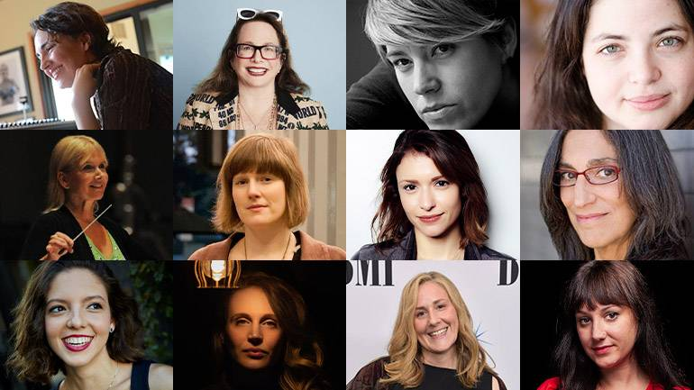 Pictured (L-R) Top Row are BMI composers: Starr Parodi, Laura Karpman, Allyson Newman and Nami Melumad. (L-R) Middle Row: Lolita Ritmanis, Heather McIntosh, Stephanie  Economou and Miriam Cutler. (L-R) Bottom Row: Esin Ozlem Aydingos, Ariel Marx, Ronit Kirchman and Mandy Hoffman.