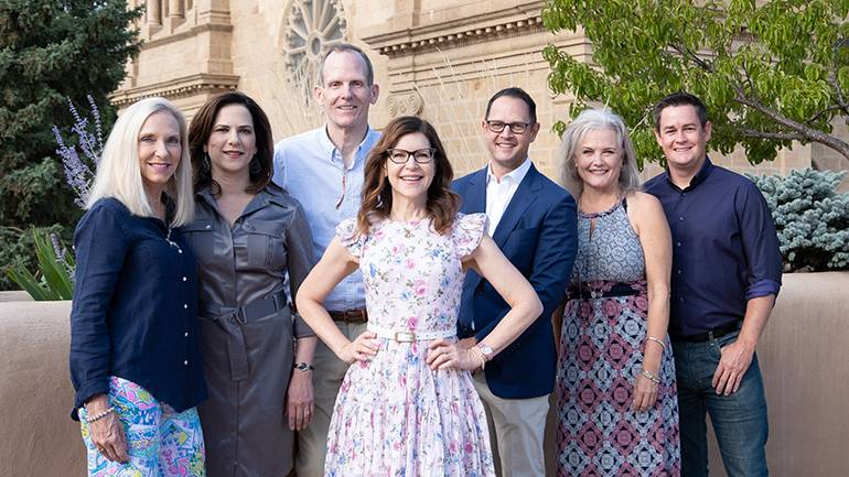 Pictured (L-R) before Lisa Loeb's performance at the CSRA Summer Conference in Santa Fe are (Back row): Florida Restaurant & Lodging Association President & CEO Carol Dover, Colorado Restaurant Association President & CEO Sonia Riggs, BMI's Dan Spears, Michigan Restaurant & Lodging Association President & CEO Justin Winslow, CSRA Executive Vice President Suzanne Bohle and Oregon Restaurant & Lodging Association President & CEO Jason Brandt. (Front row): BMI songwriter Lisa Loeb.