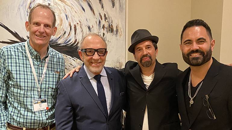 Pictured (L-R) before BMI songwriter Emilo Estefan was honored at the Hispanic Radio Conference are BMI's Dan Spears, BMI songwriters Emilio Estefan and and Elsten Torres, and iHeartLatino President & Chief Creative Officer Enrique Santos.