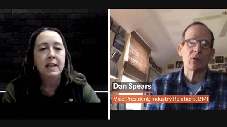 CABBI Senior Vice President Jennifer Flohr and BMI's Dan Spears introduce BMI songwriter Marc Scibilia at the INNspire Virtual Conference and Marketplace.