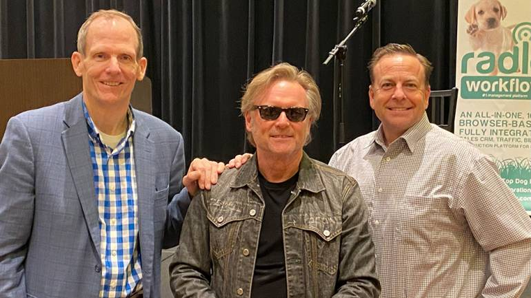 Pictured are BMI's Dan Spears, BMI songwriter Terry McBride, and Payne Media Group President Will Payne before McBride takes the stage at the 2021 International Idea Bank Spring Conference in Durant, Oklahoma.