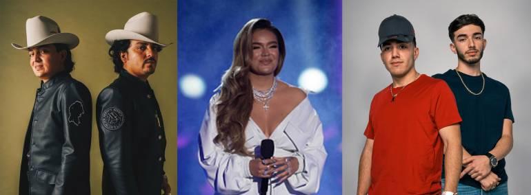 Premios Juventud nominees L-R: Los Dos Carnale, Karol G. and Eslabón Armado