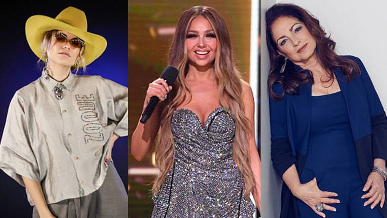L-R: Sofia Reyes, Thalia, Gloria Estefan