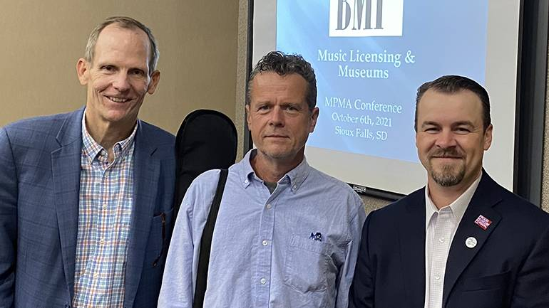 Pictured (L-R) after the BMI music licensing session at the 2021 MPMA conference in Sioux Falls are: BMI's Dan Spears, BMI songwriter Jim McCormick, and MPMA Executive Director Justin Jakovac.