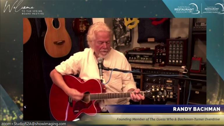 Randy Bachman of The Guess Who and BTO performs at the NRA Spring Board Meeting.