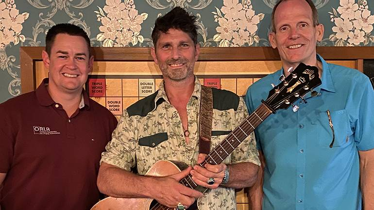Pictured (L-R) before BMI songwriter Dave Pahanish hit the stage at the ORLA's Industry Night Out party in Portland are: ORLA President & CEO Jason Brandt, BMI songwriter Dave Pahanish and BMI's Dan Spears.