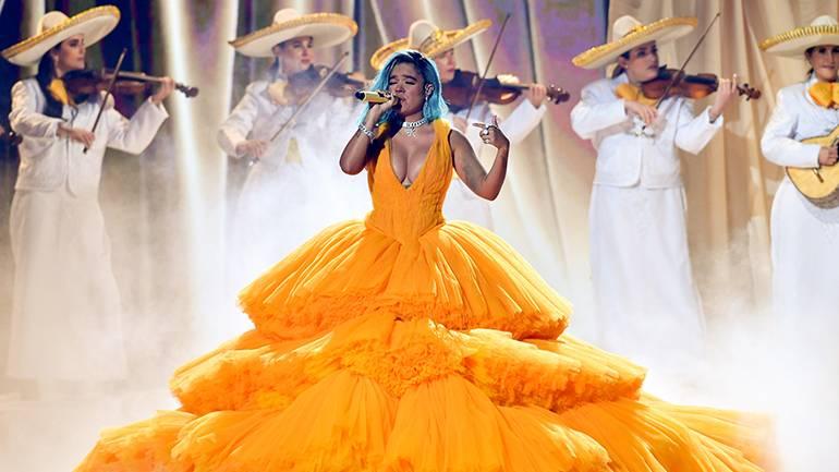 Karol G performs at Premios Juventud.