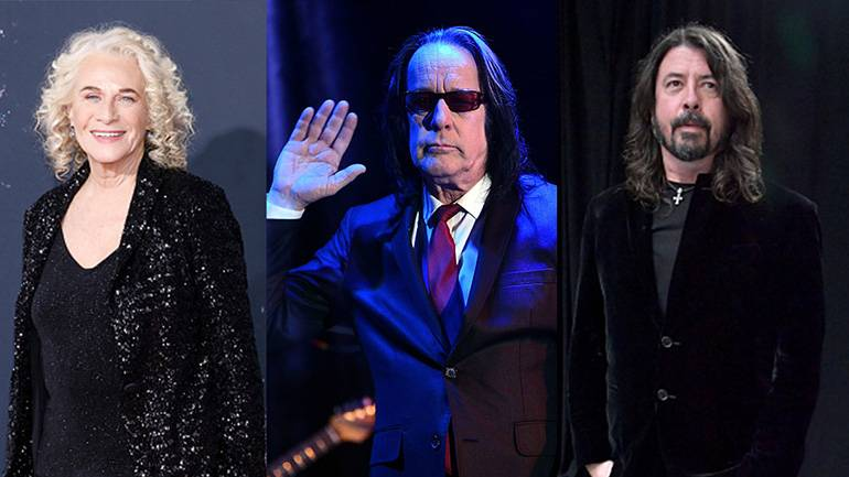 L-R: Carole King, Todd Rundgren, Dave Grohl of Foo Fighters