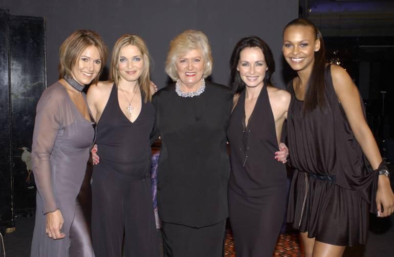 BMI President & CEO Frances W. Preston congratulates songwriters Pamela Sheyne, Caroline Corr, Sharon Corr and Samantha Mumba at the Awards.